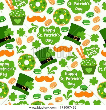 Sweet seamless pattern with donuts, hats, clover, mushrooms, cupcakes, hearts, macaroons, wafer rolls. Kiss me for luck. Happy St. Patrick's Day. Holiday background.