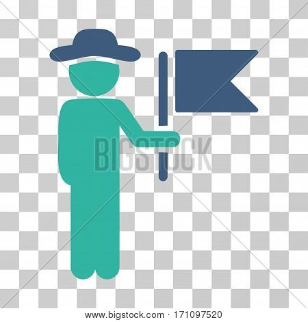 Gentleman Commander icon. Vector illustration style is flat iconic bicolor symbol cobalt and cyan colors transparent background. Designed for web and software interfaces.