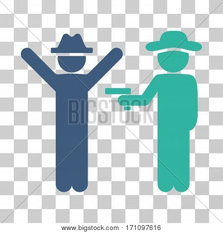 Gentleman Crime icon. Vector illustration style is flat iconic bicolor symbol cobalt and cyan colors transparent background. Designed for web and software interfaces.