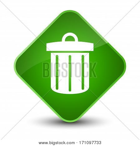 Recycle Bin Icon Special Green Diamond Button