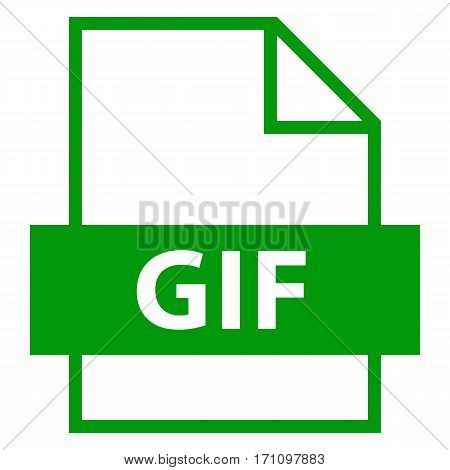 Use it in all your designs. Filename extension icon GIF Graphics Interchange Format in flat style. Quick and easy recolorable shape. Vector illustration a graphic element.