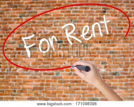 Woman Hand Writing For Rent With Black Marker On Visual Screen