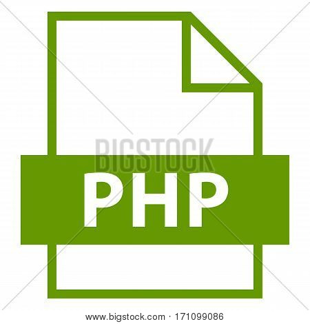 Use it in all your designs. Filename extension icon PHP Hypertext Preprocessor Source Code File in flat style. Quick and easy recolorable shape. Vector illustration a graphic element.