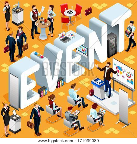 Business Event Group of Diverse Isometric Business People. 3D meeting infograph crowd with standing walking casual people icon set. Conference lot collection vector illustration