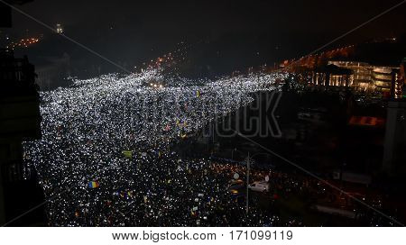 BUCHAREST ROMANIA - 05 February 2017: More than 240000 protesters in Victory Square (Piata Victoriei).
