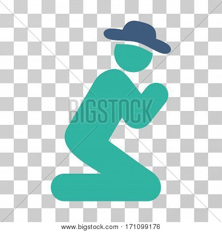 Gentleman Pray icon. Vector illustration style is flat iconic bicolor symbol cobalt and cyan colors transparent background. Designed for web and software interfaces.