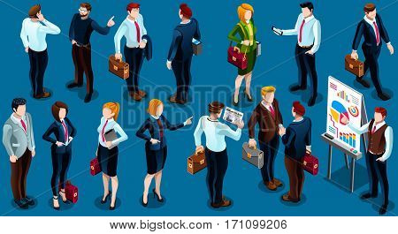 Isometric people isolated meeting staff infographic. 3D Isometric boss person icon set. Creative design vector illustration collection