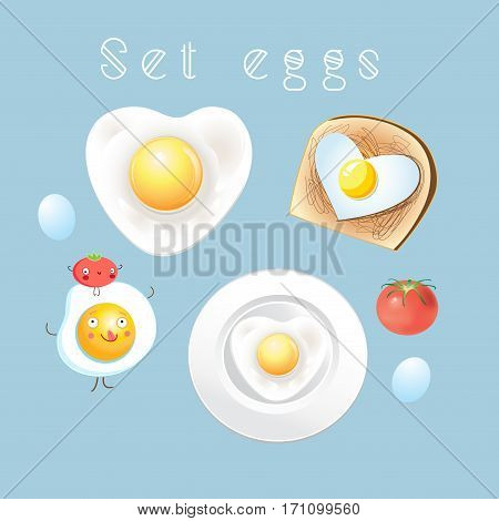 Graphic set of different tasty scrambled eggs on a light background