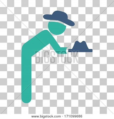 Gentleman Servant icon. Vector illustration style is flat iconic bicolor symbol cobalt and cyan colors transparent background. Designed for web and software interfaces.