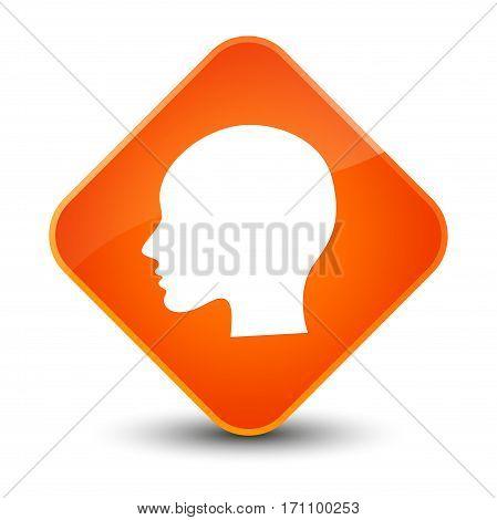 Head Woman Face Icon Special Orange Diamond Button