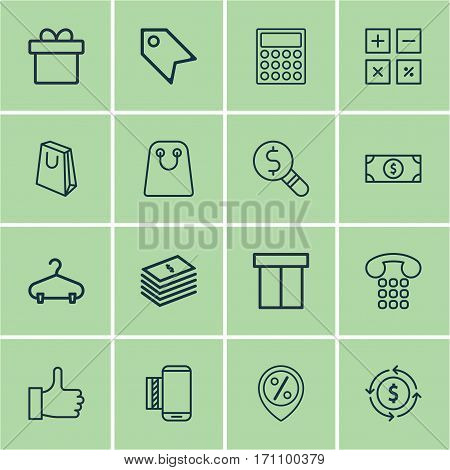 Set Of 16 Ecommerce Icons. Includes Calculator, Discount Location, Tote Bag And Other Symbols. Beautiful Design Elements.