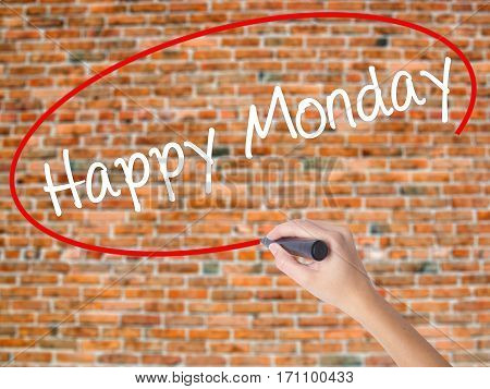 Woman Hand Writing Happy Monday With Black Marker On Visual Screen