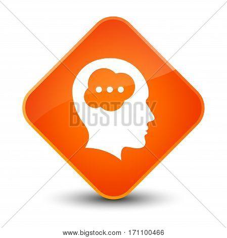 Brain Head Icon Special Orange Diamond Button