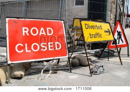 British Roadworks With Road Closed And Diverted Traffic, Signs.