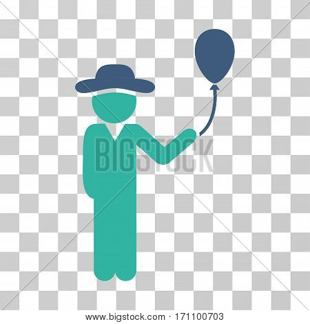 Gentleman With Balloon icon. Vector illustration style is flat iconic bicolor symbol cobalt and cyan colors transparent background. Designed for web and software interfaces.