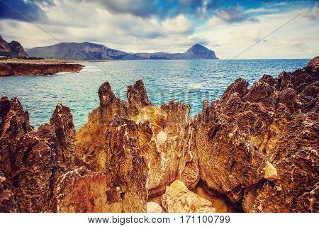 Fantastic views of the sea with blue sky. The dramatic and picturesque scene. Isle of Lipari, Sicily, Italy, Europe. Mediterranean and Tyrrhenian Sea.