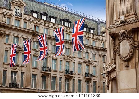 London UK flags in Oxford Street W1 Westminster England