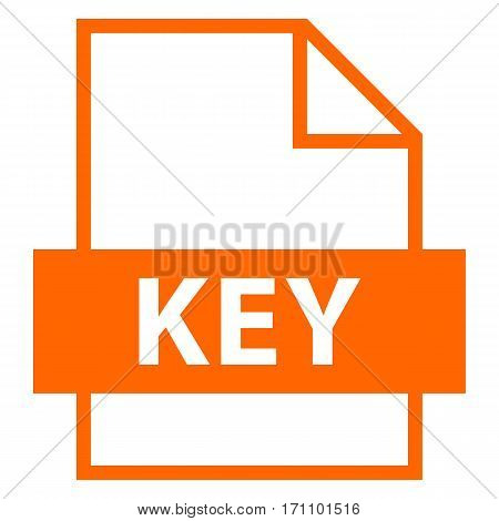 Use it in all your designs. Filename extension icon KEY keynote format file in flat style. Quick and easy recolorable shape. Vector illustration a graphic element.