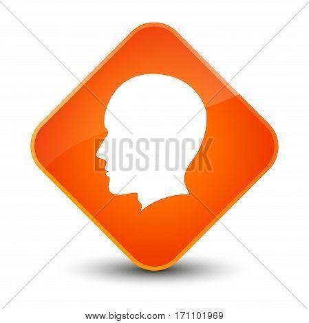 Head Male Face Icon Special Orange Diamond Button