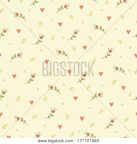 Flowers on a beige background. Simple floral background.