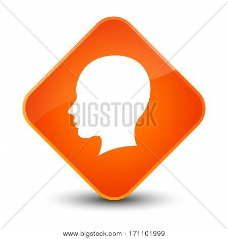 Head Female Face Icon Special Orange Diamond Button