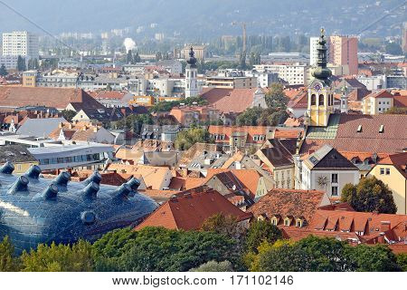 GRAZ/ AUSTRIA - OCTOBER 8. City overview from the hill Schlossberg on October 8, 2016 in city of Graz, Austria.