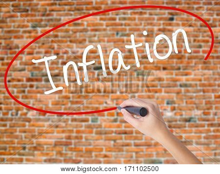 Woman Hand Writing Inflation With Black Marker On Visual Screen.