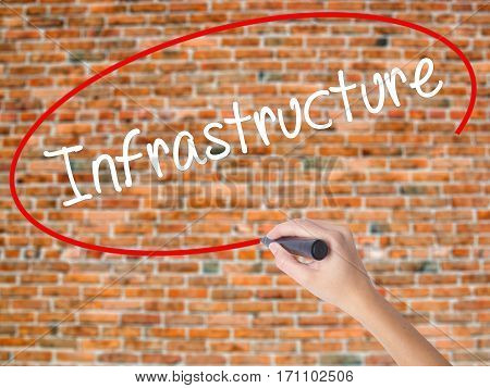 Woman Hand Writing Infrastructure  With Black Marker On Visual Screen