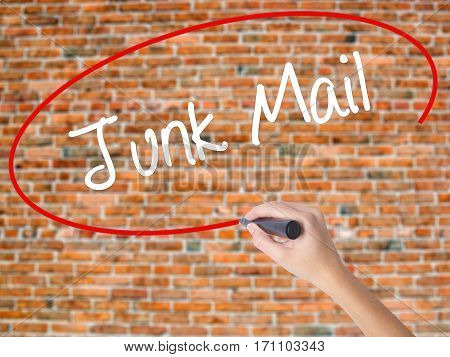 Woman Hand Writing Junk Mail With Black Marker On Visual Screen