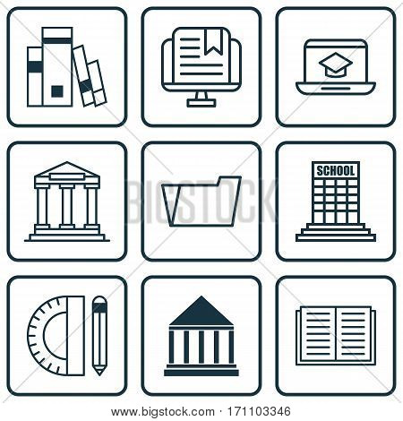 Set Of 9 School Icons. Includes E-Study, Document Case, Library And Other Symbols. Beautiful Design Elements.