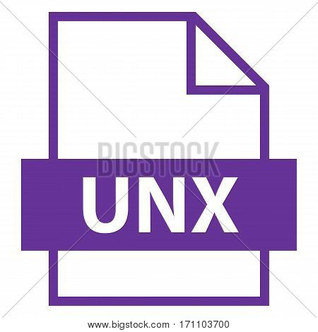 Use it in all your designs. Filename extension icon UNX Unix Text File in flat style. Quick and easy recolorable shape. Vector illustration a graphic element.