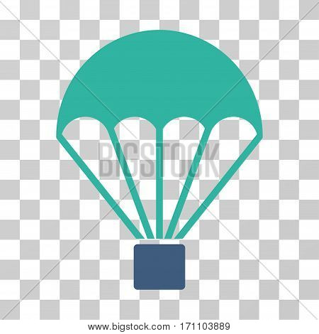 Parachute icon. Vector illustration style is flat iconic bicolor symbol cobalt and cyan colors transparent background. Designed for web and software interfaces.