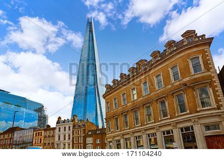 London shard view from old brick buildings in England