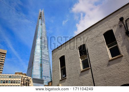 London shard view from Southwark old brick buildings in England