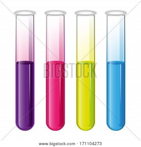 Test tubes set with liquid in the laboratory for tests and experiments in science and education. White background. Vector.