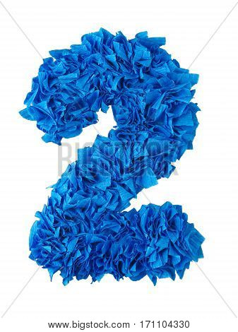 Two. Handmade number 2 from blue crepe paper isolated on white background. Set of numbers from scraps of paper