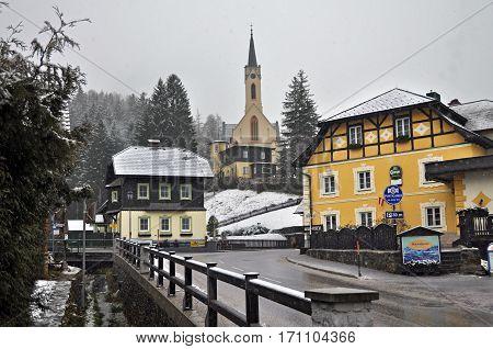 PREIN ON THE RAX/ AUSTRIA - FEBRUARY 17, 2014: Snowfall in the Alpine village Prein on the RAX. Lower Austria