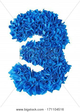 Three. Handmade number 3 from blue crepe paper isolated on white background. Set of numbers from scraps of paper