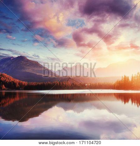 Majestic mountain lake in National Park High Tatra. Strbske pleso, Slovakia, Europe.
