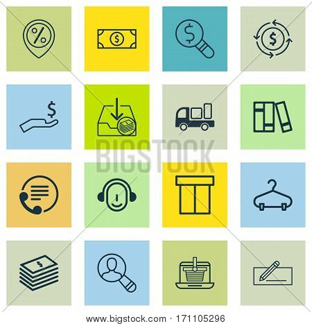 Set Of 16 Ecommerce Icons. Includes Peg, Discount Location, Buck And Other Symbols. Beautiful Design Elements.