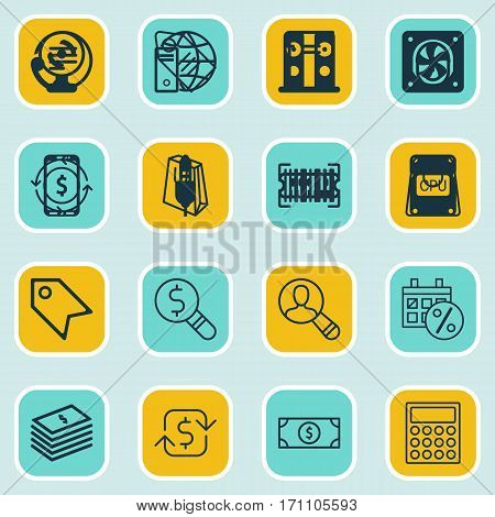 Set Of 16 Commerce Icons. Includes Recurring Payements, Employee, Business Inspection And Other Symbols. Beautiful Design Elements.