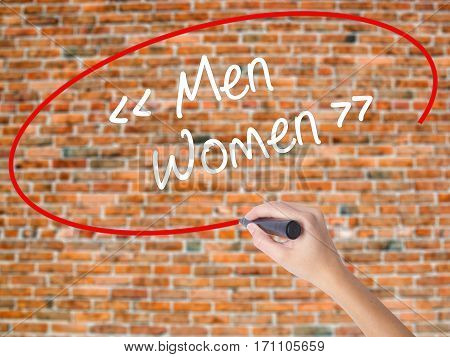 Woman Hand Writing Men - Women With Black Marker On Visual Screen