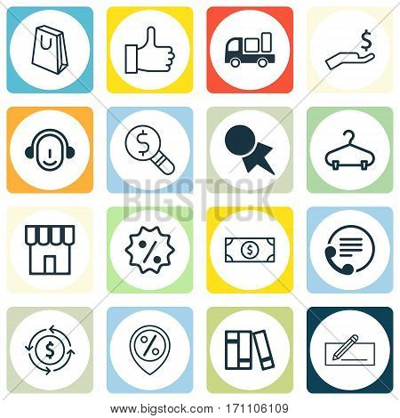 Set Of 16 E-Commerce Icons. Includes Peg, Telephone, Rich And Other Symbols. Beautiful Design Elements.
