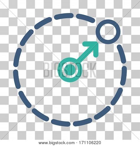 Round Area Border icon. Vector illustration style is flat iconic bicolor symbol cobalt and cyan colors transparent background. Designed for web and software interfaces.