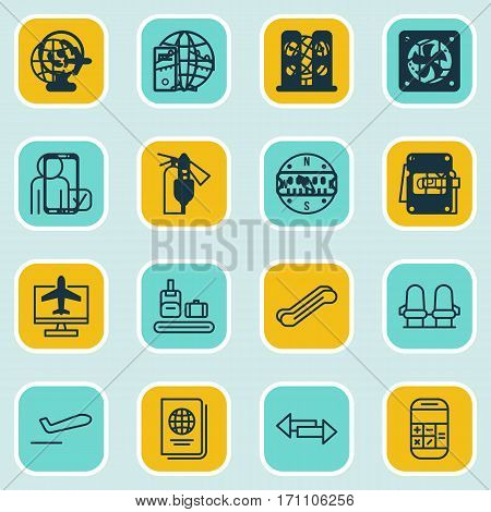 Set Of 16 Airport Icons. Includes Road Map, Locate, Airliner And Other Symbols. Beautiful Design Elements.
