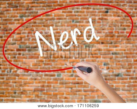 Woman Hand Writing Nerd With Black Marker On Visual Screen