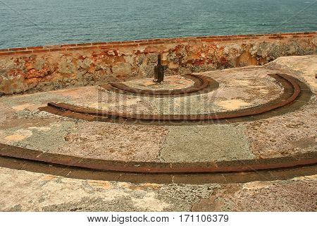 Cannon swivel tracks at edge of El Morro wall