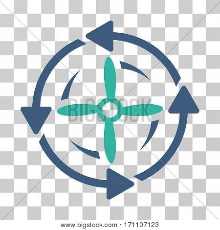 Screw Rotation icon. Vector illustration style is flat iconic bicolor symbol cobalt and cyan colors transparent background. Designed for web and software interfaces.