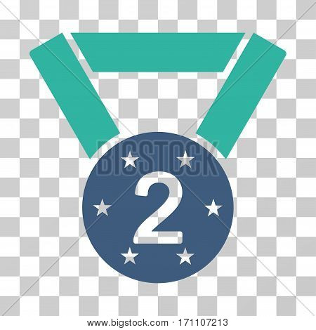 Second Medal icon. Vector illustration style is flat iconic bicolor symbol cobalt and cyan colors transparent background. Designed for web and software interfaces.
