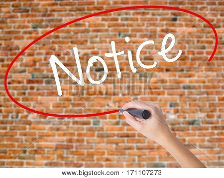 Woman Hand Writing Notice With Black Marker On Visual Screen